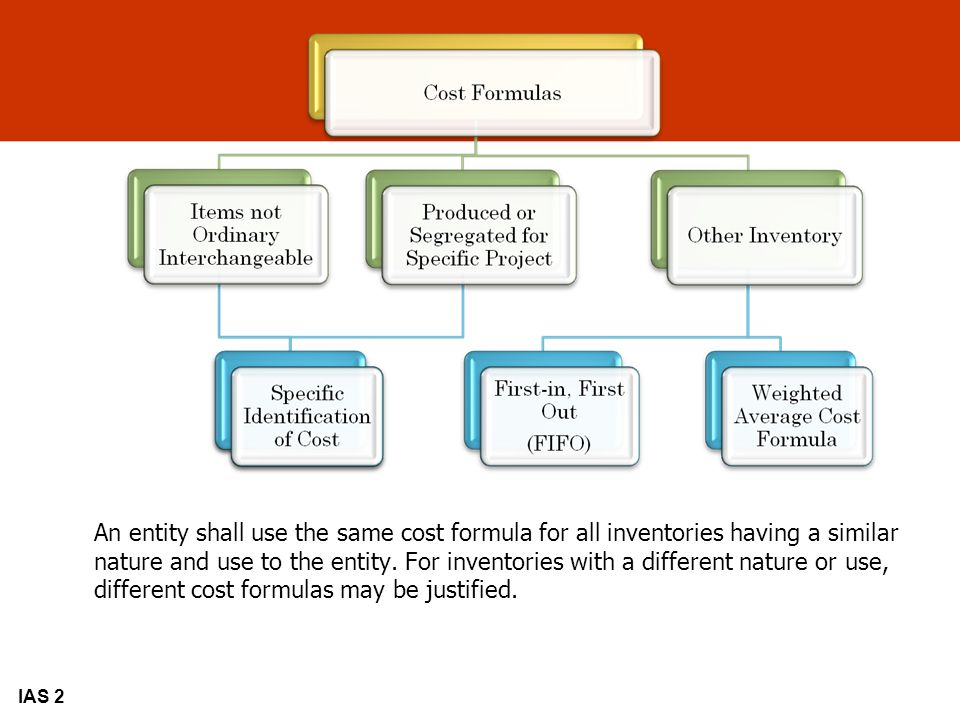 An entity shall use the same cost formula for all inventories having a similar nature and use to the entity. For inventories with a different nature or use, different cost formulas may be justified.