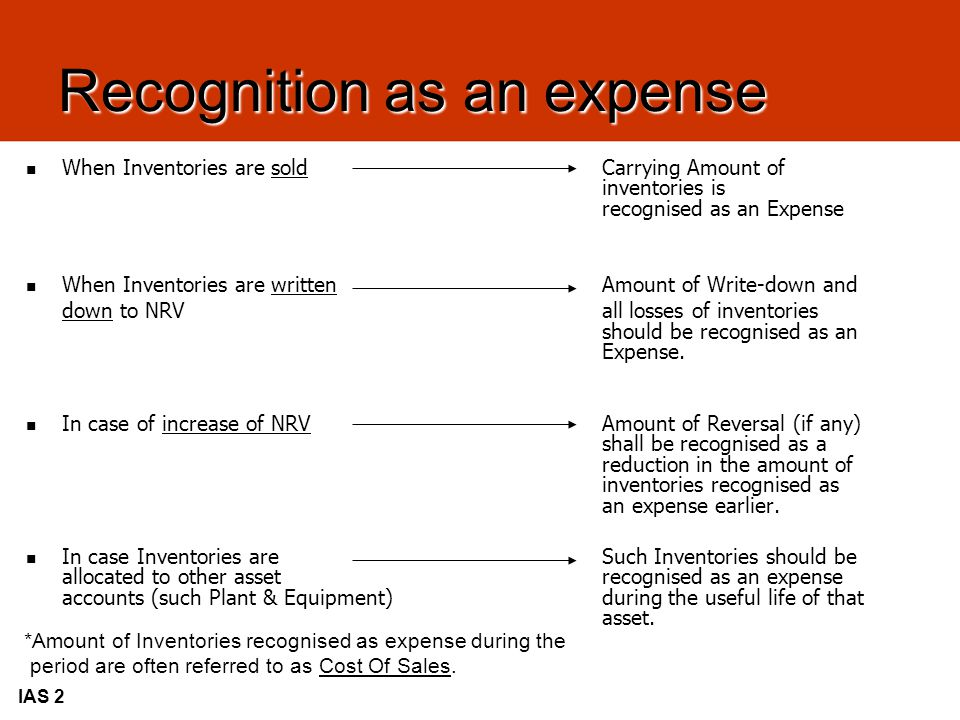 Recognition as an expense