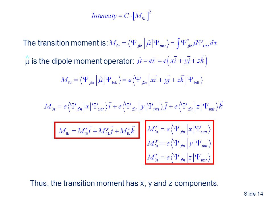 The transition moment is: