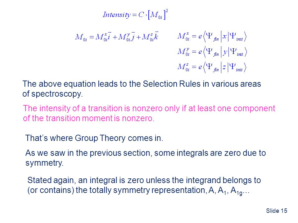 The above equation leads to the Selection Rules in various areas