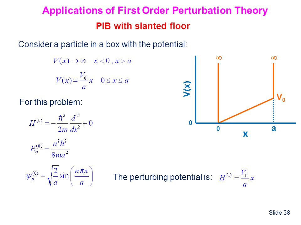 Applications of First Order Perturbation Theory