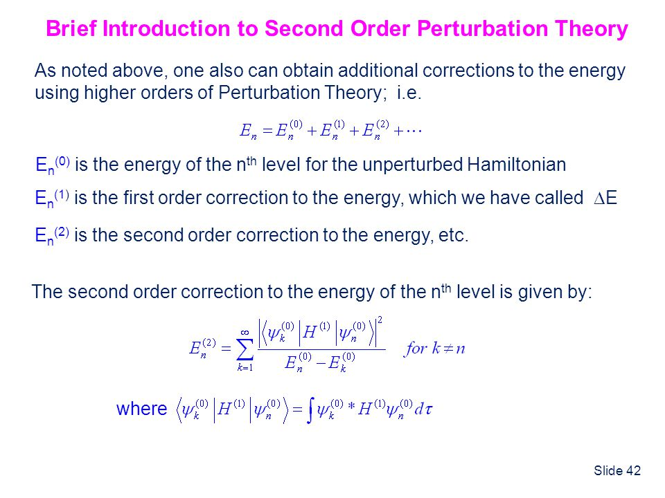 Brief Introduction to Second Order Perturbation Theory