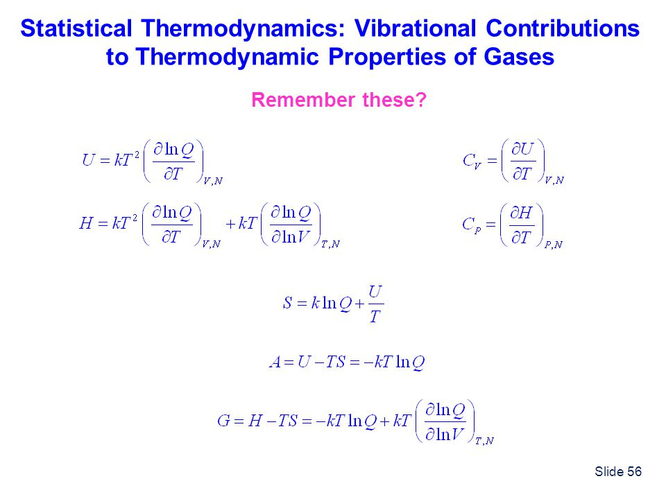 Statistical Thermodynamics: Vibrational Contributions to Thermodynamic Properties of Gases