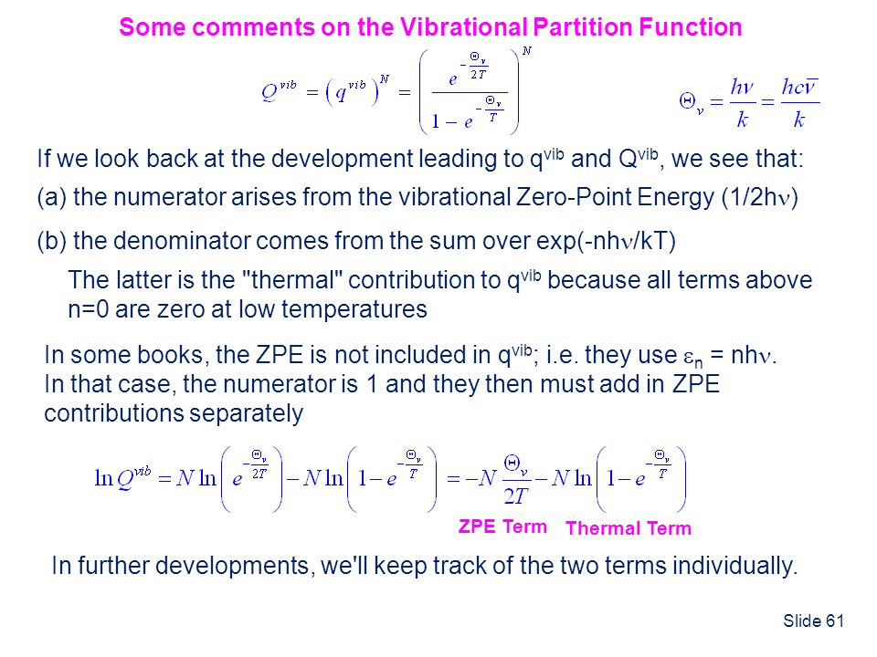 Some comments on the Vibrational Partition Function