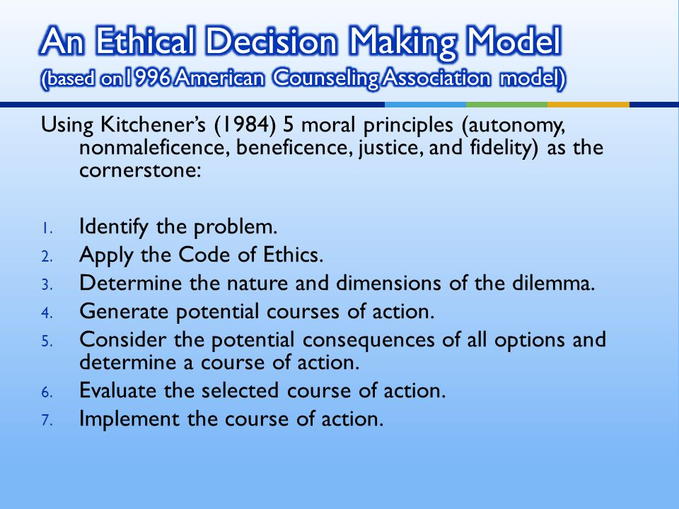 An Ethical Decision Making Model (based on1996 American Counseling Association model)