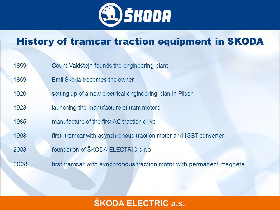 History of tramcar traction equipment in SKODA