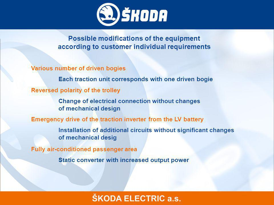 Possible modifications of the equipment according to customer individual requirements