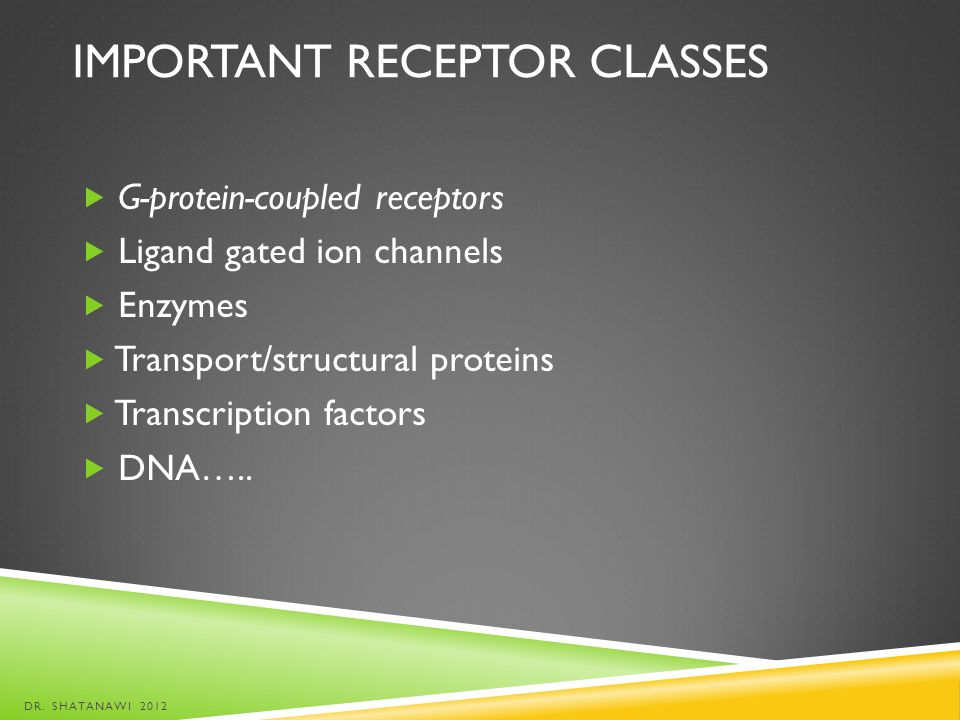 Important receptor classes