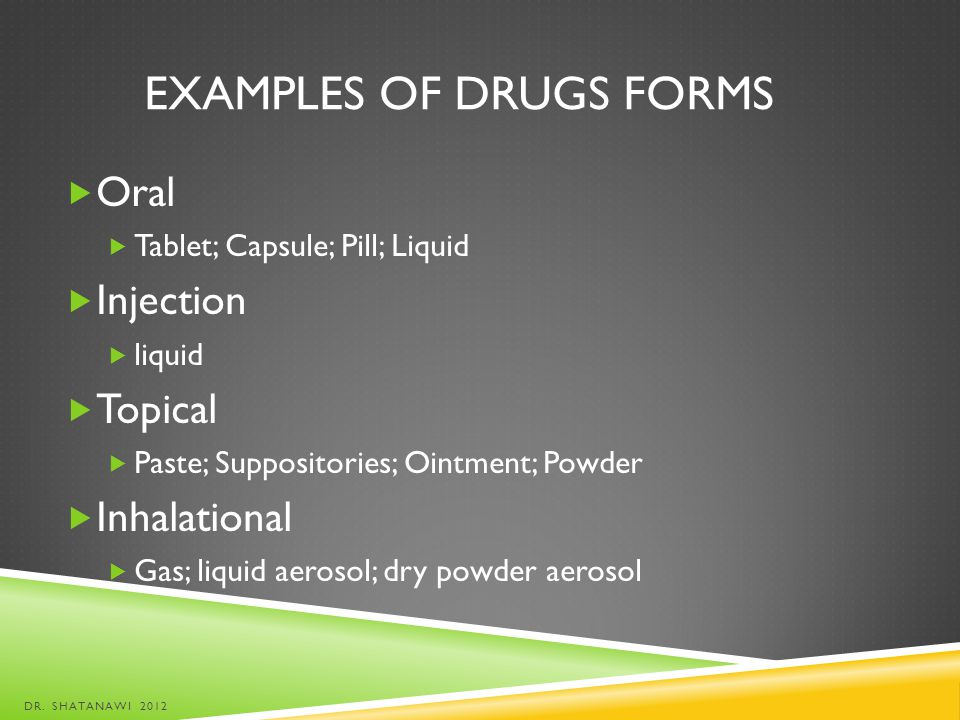 Examples of Drugs Forms