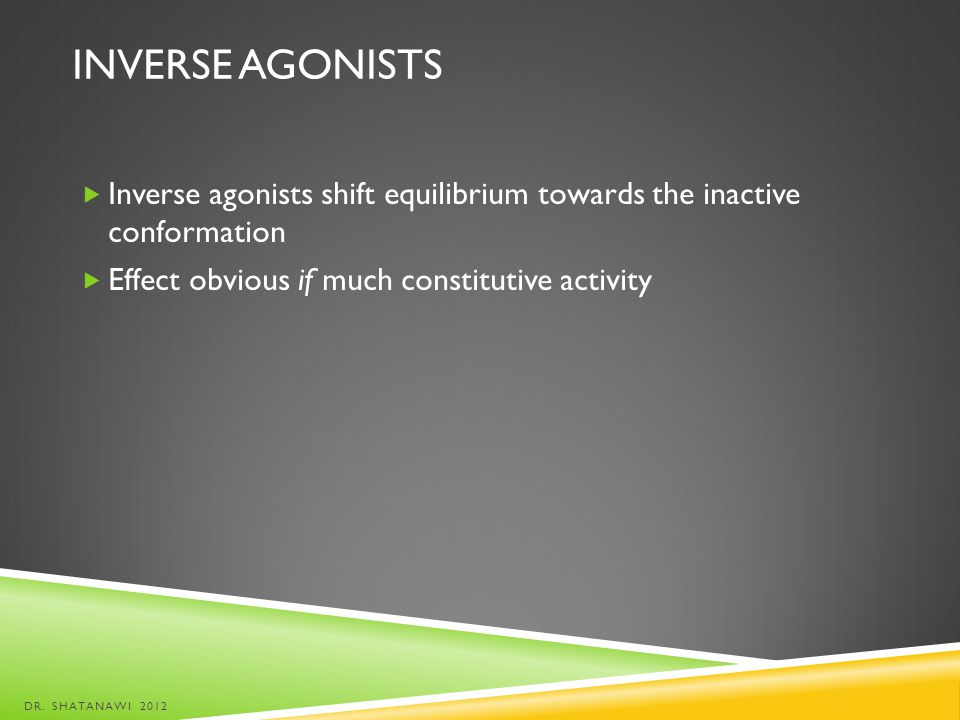 Inverse agonists Inverse agonists shift equilibrium towards the inactive conformation. Effect obvious if much constitutive activity.