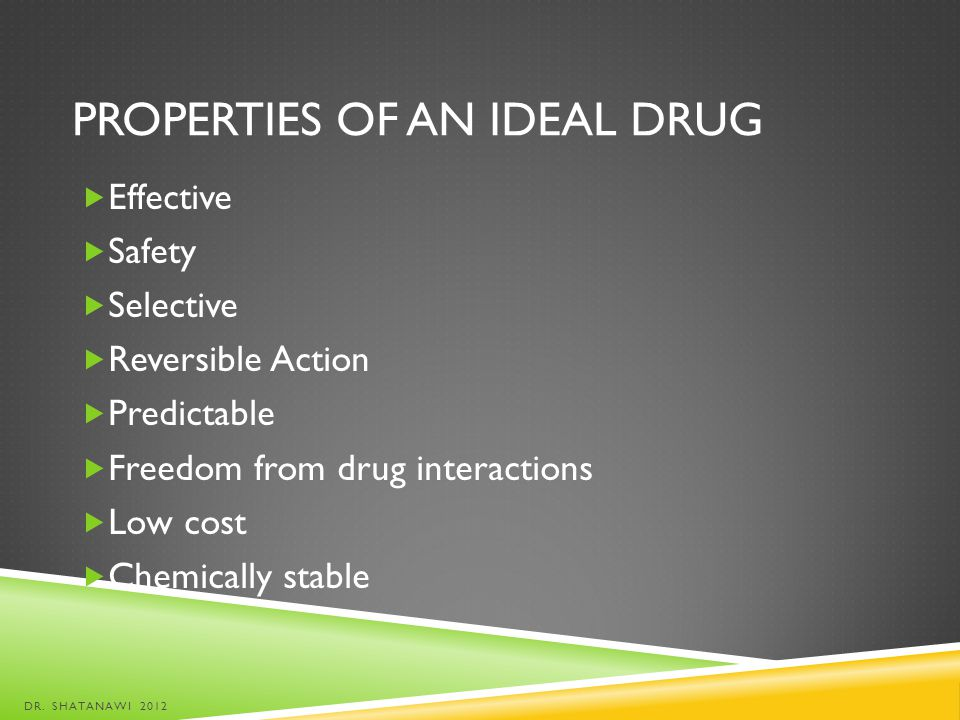 Properties of an Ideal Drug