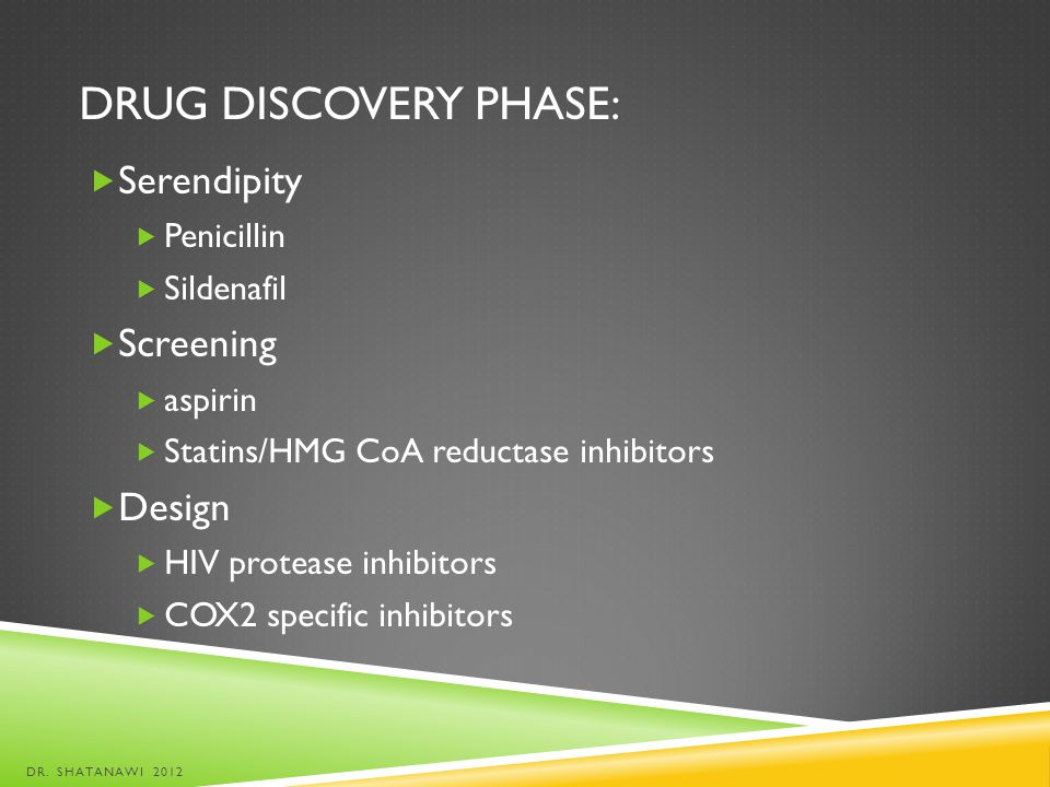 Drug discovery phase: Serendipity Screening Design Penicillin