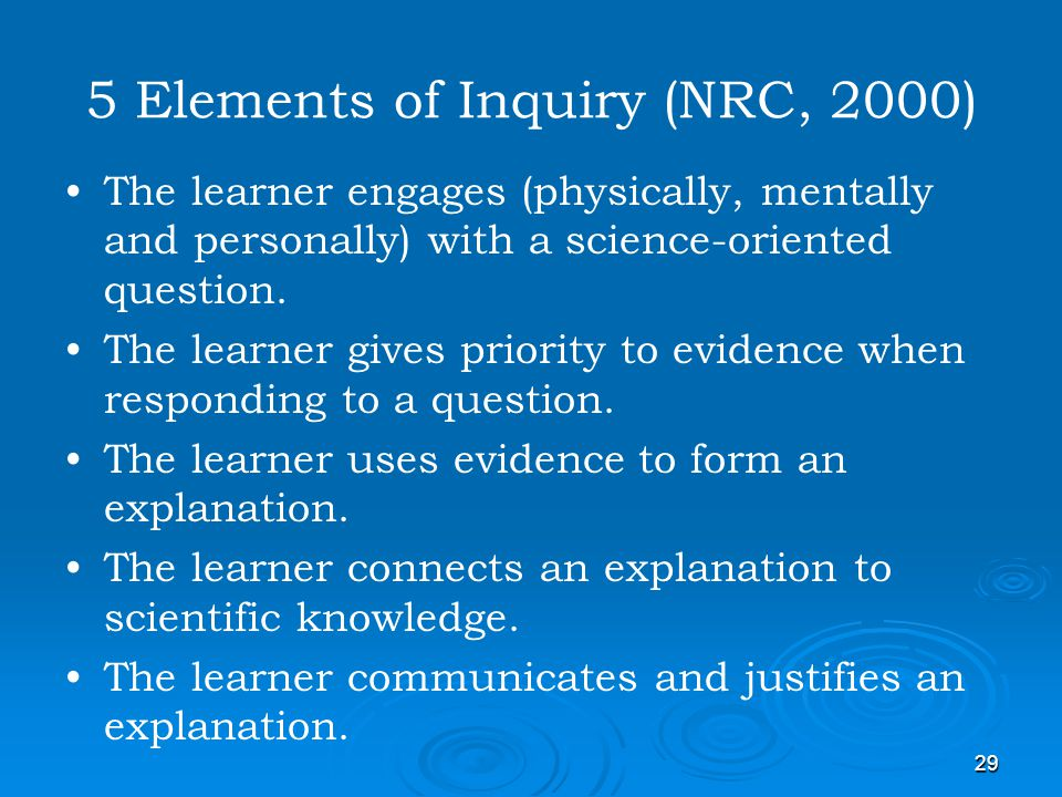 5 Elements of Inquiry (NRC, 2000)