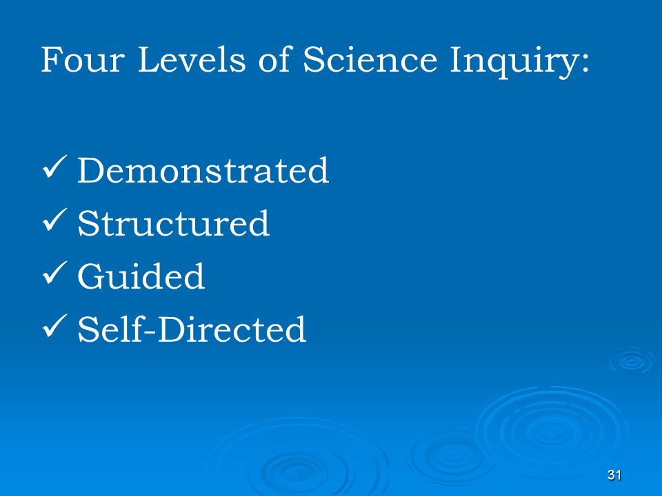 Four Levels of Science Inquiry: