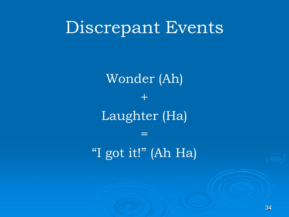 Discrepant Events Wonder (Ah) + Laughter (Ha) = I got it! (Ah Ha)