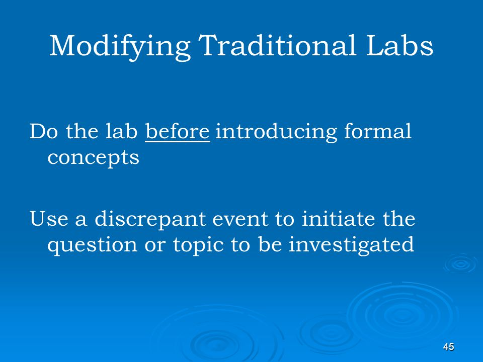 Modifying Traditional Labs