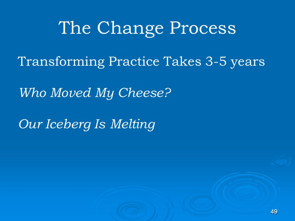 The Change Process Transforming Practice Takes 3-5 years