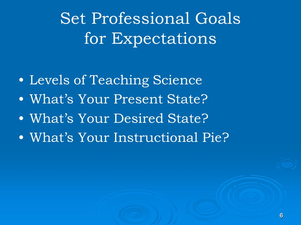 Set Professional Goals for Expectations