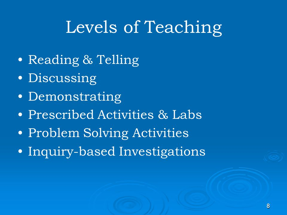 Levels of Teaching Reading & Telling Discussing Demonstrating