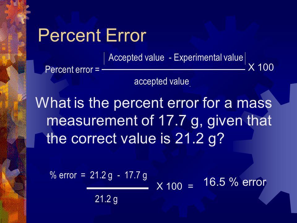 Percent Error Accepted value - Experimental value. Percent error = accepted value. X 100.