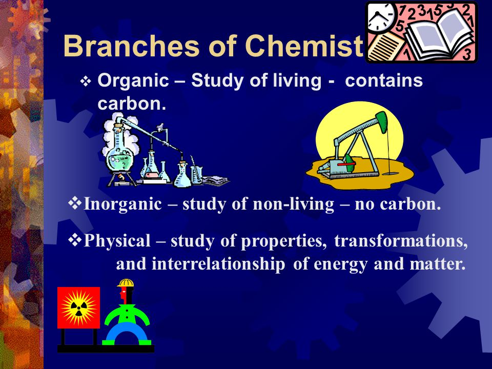 Branches of Chemistry Organic – Study of living - contains carbon.