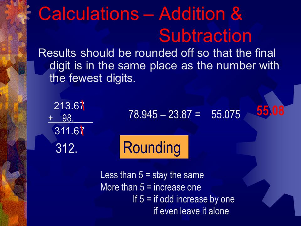 Calculations – Addition & Subtraction