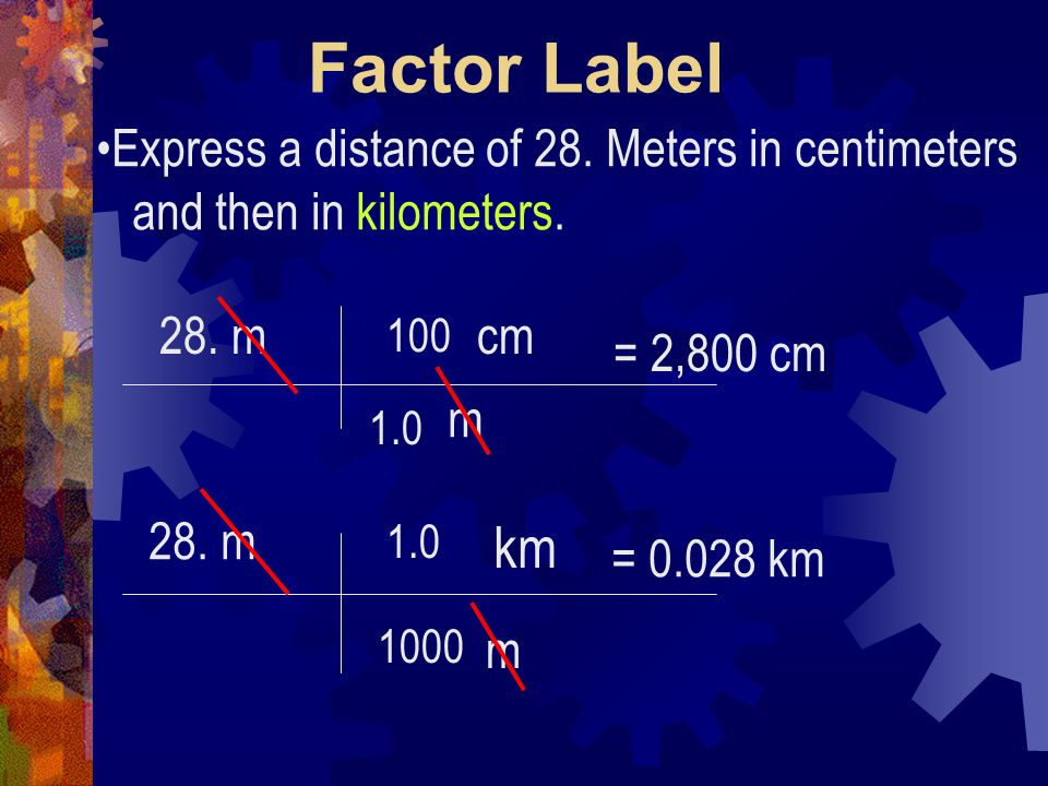 Factor Label km Express a distance of 28. Meters in centimeters