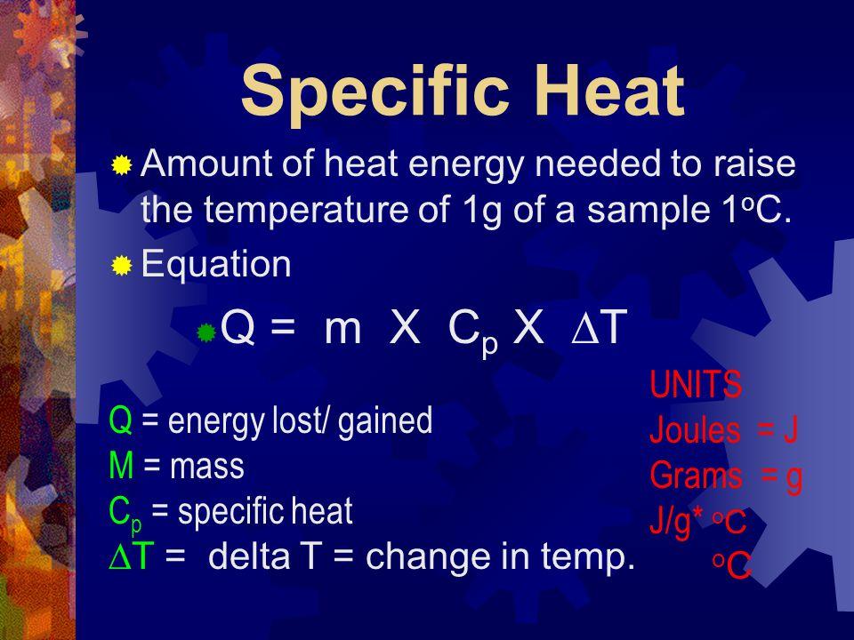 Specific Heat Q = m X Cp X DT