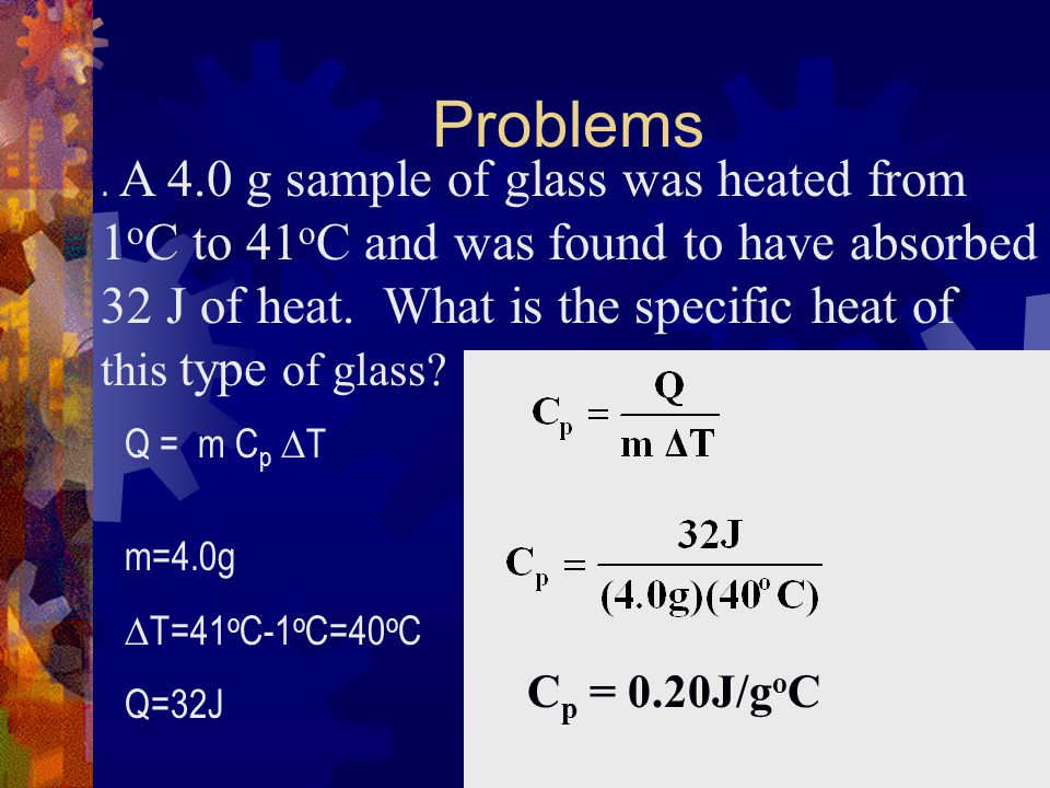 Problems 1oC to 41oC and was found to have absorbed