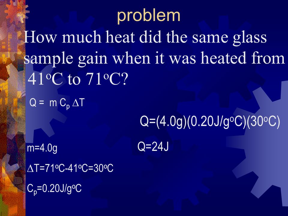 How much heat did the same glass sample gain when it was heated from