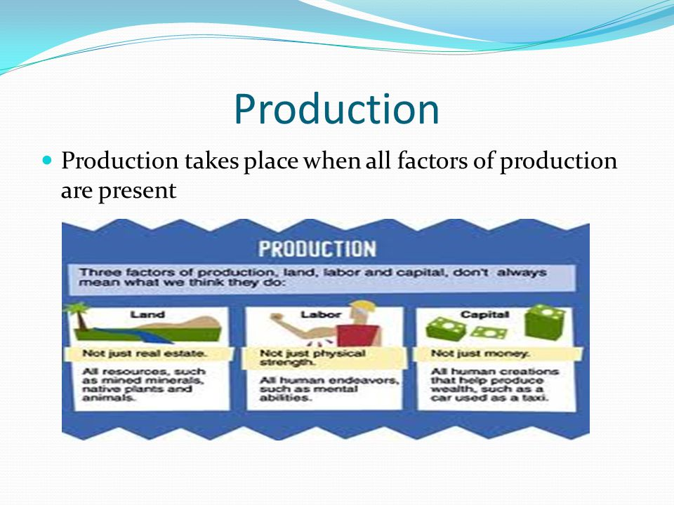 Production Production takes place when all factors of production are present