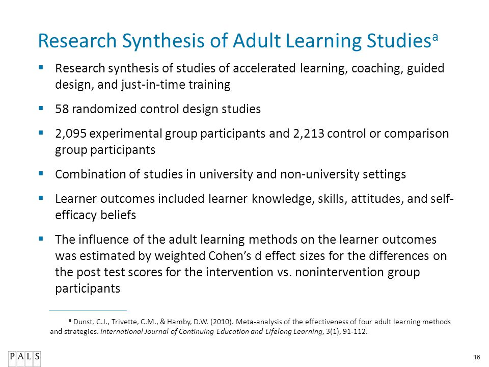 Research Synthesis of Adult Learning Studiesa