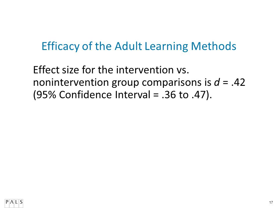 Efficacy of the Adult Learning Methods