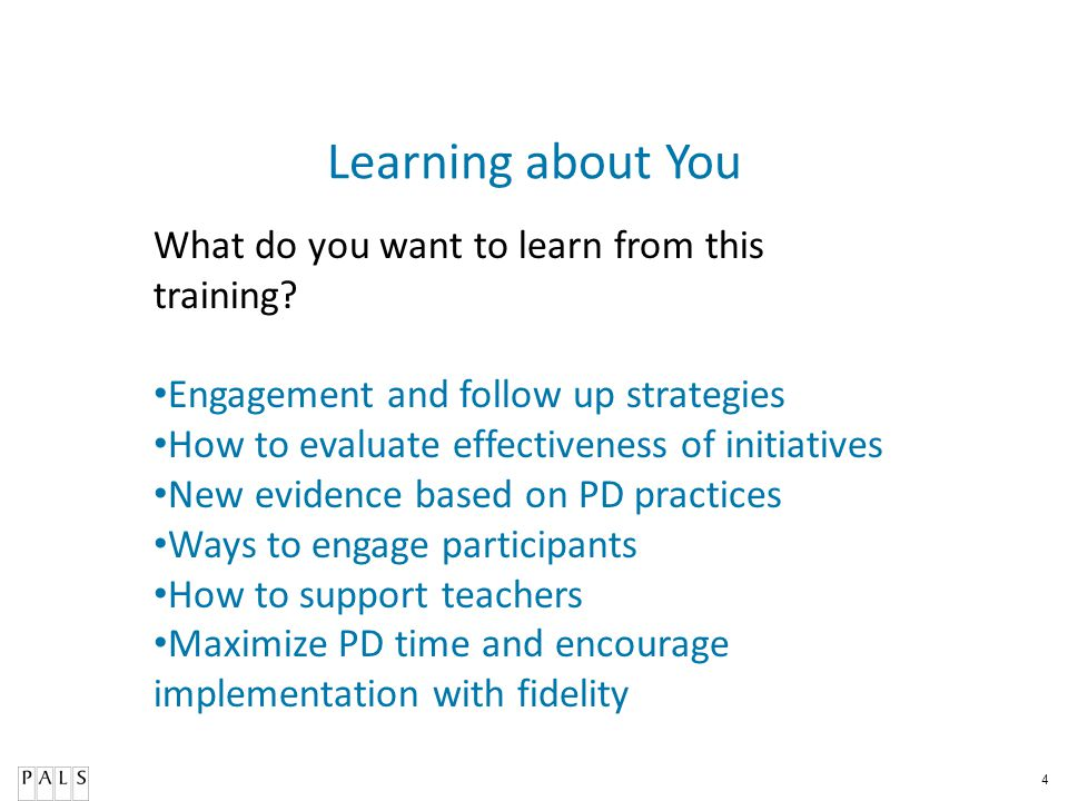 Learning about You What do you want to learn from this training