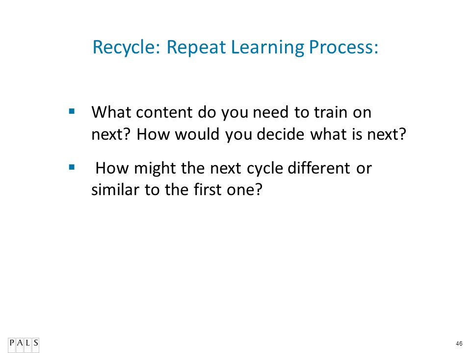 Recycle: Repeat Learning Process:
