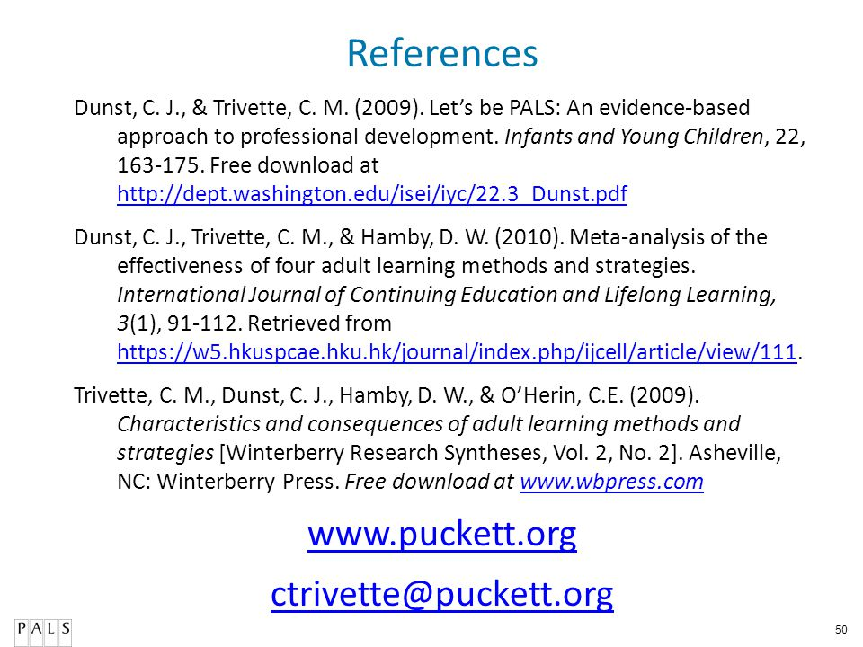 References www.puckett.org ctrivette@puckett.org