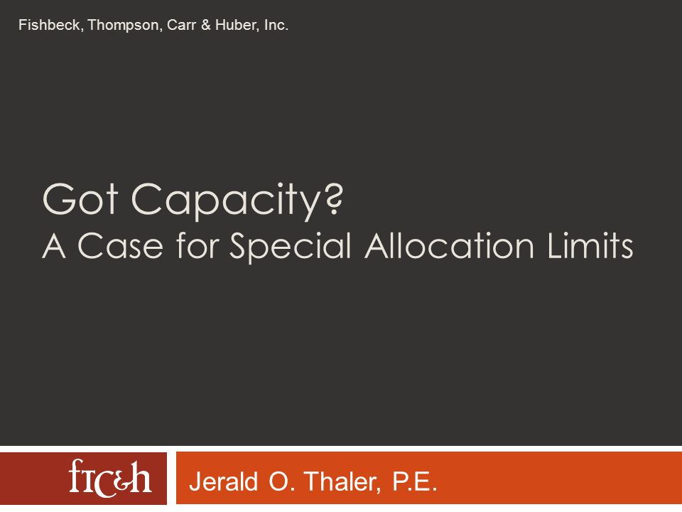 Got Capacity A Case for Special Allocation Limits