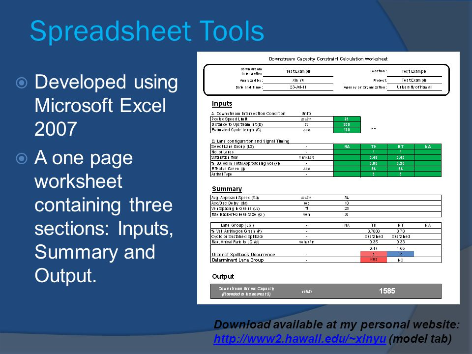 Spreadsheet Tools Developed using Microsoft Excel 2007