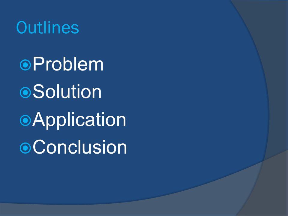 Outlines Problem Solution Application Conclusion