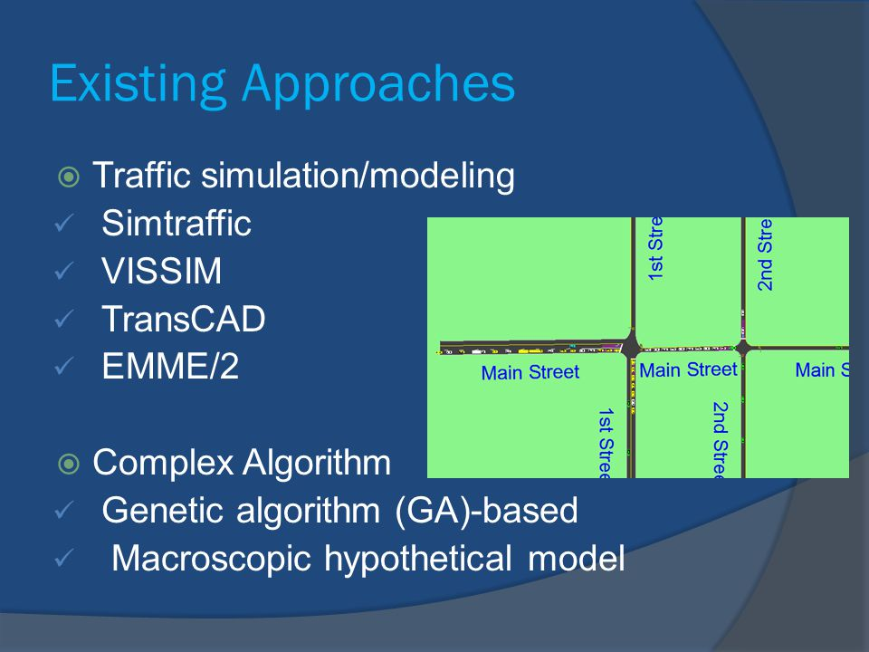 Existing Approaches Traffic simulation/modeling Simtraffic VISSIM