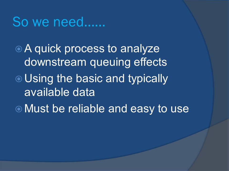 So we need…… A quick process to analyze downstream queuing effects
