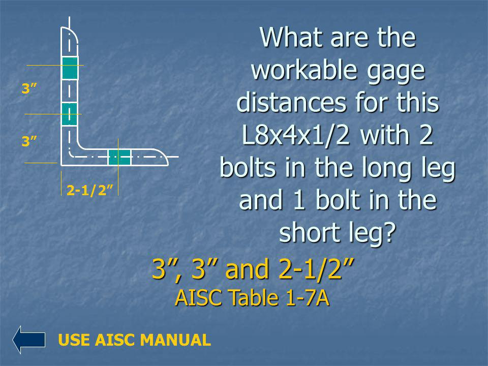 What are the workable gage distances for this L8x4x1/2 with 2 bolts in the long leg and 1 bolt in the short leg