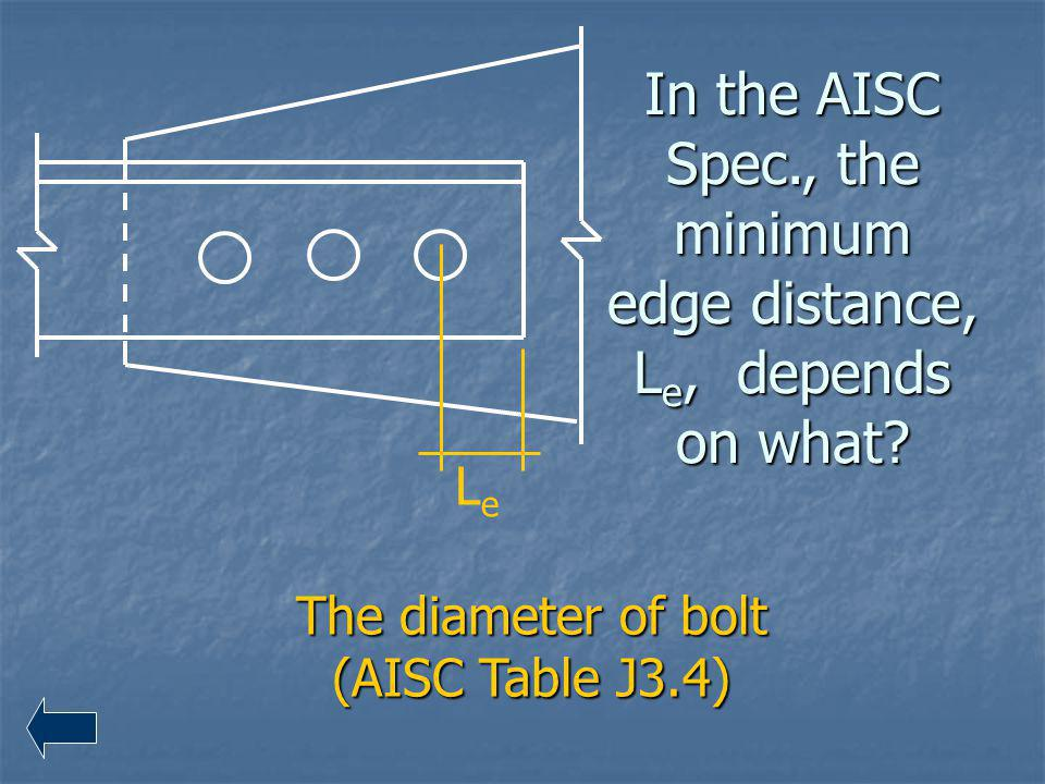 In the AISC Spec., the minimum edge distance, Le, depends on what