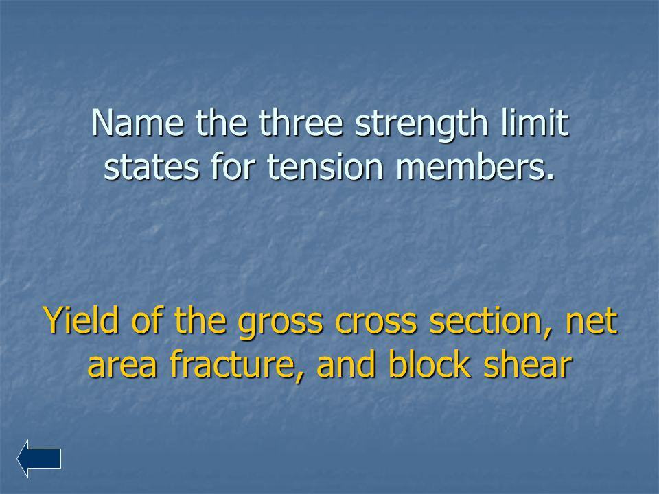 Name the three strength limit states for tension members.