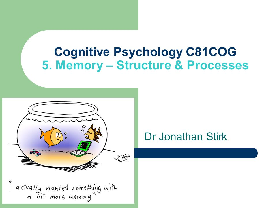 Cognitive Psychology C81COG 5. Memory – Structure & Processes