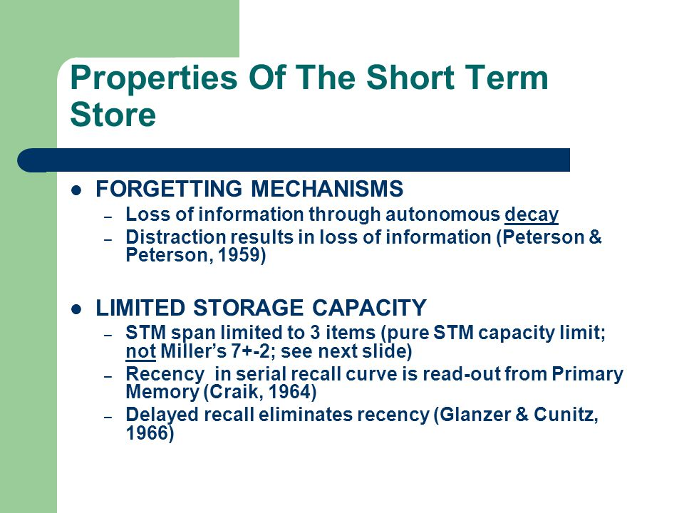 Properties Of The Short Term Store
