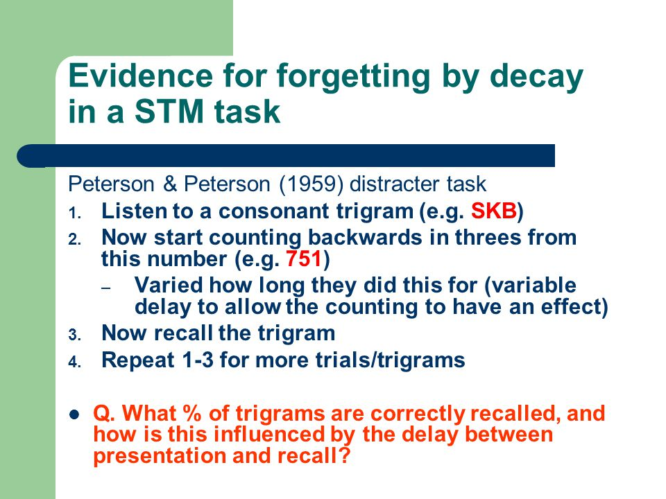Evidence for forgetting by decay in a STM task