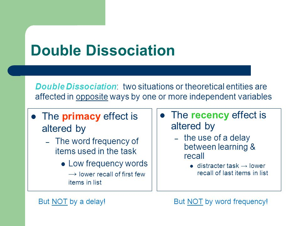 Double Dissociation The primacy effect is altered by