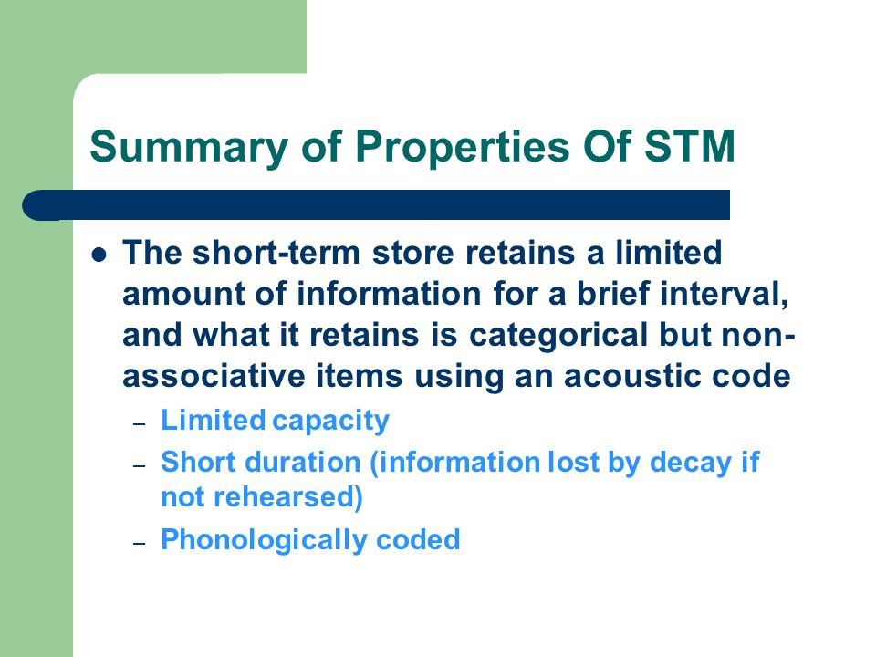 Summary of Properties Of STM