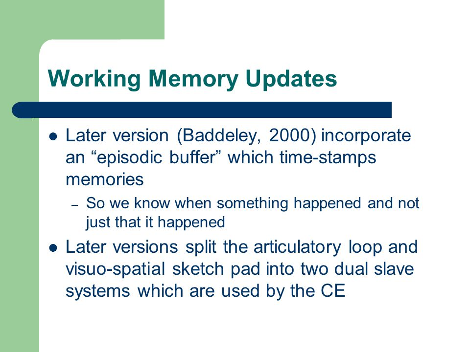Working Memory Updates